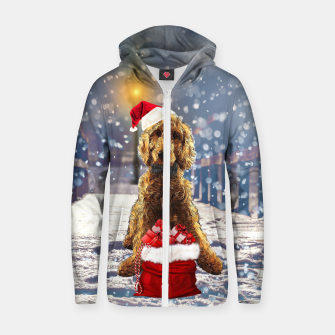 Thumbnail image of Christmas Golden Doodle Zip up hoodie, Live Heroes