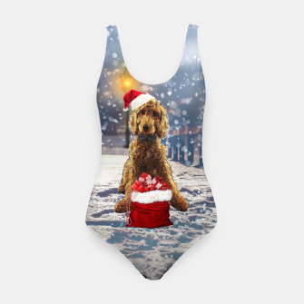 Thumbnail image of Christmas Golden Doodle Swimsuit, Live Heroes