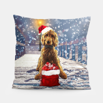 Thumbnail image of Christmas Golden Doodle Pillow, Live Heroes
