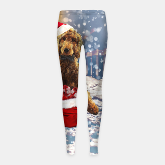 Thumbnail image of Christmas Golden Doodle Girl's leggings, Live Heroes