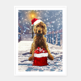 Thumbnail image of Christmas Golden Doodle Framed poster, Live Heroes