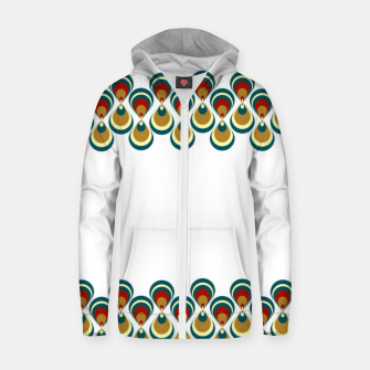 Thumbnail image of Vintage paon on white Sudadera con capucha y cremallera , Live Heroes