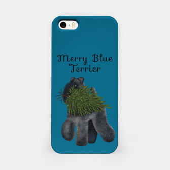 Thumbnail image of Merry Blue Terrier (Blue Background) iPhone Case, Live Heroes
