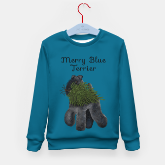 Miniatur Merry Blue Terrier (Blue Background) Kid's sweater, Live Heroes