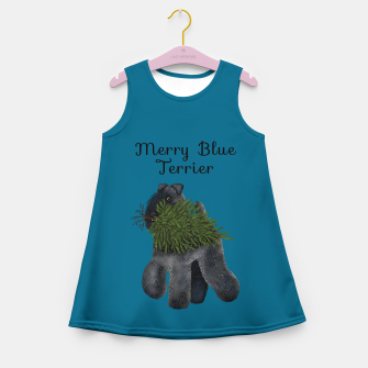 Thumbnail image of Merry Blue Terrier (Blue Background) Girl's summer dress, Live Heroes