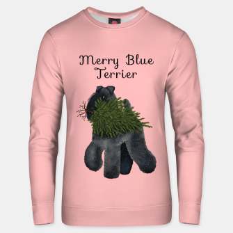 Merry Blue Terrier (Pink Background) Unisex sweater miniature