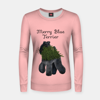 Merry Blue Terrier (Pink Background) Women sweater miniature