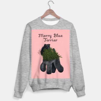 Merry Blue Terrier (Pink Background) Sweater regular thumbnail image