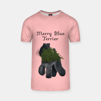 Merry Blue Terrier (Pink Background) T-shirt thumbnail image
