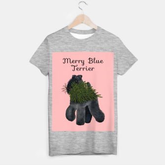 Merry Blue Terrier (Pink Background) T-shirt regular thumbnail image