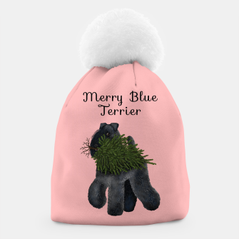 Merry Blue Terrier (Pink Background) Beanie thumbnail image