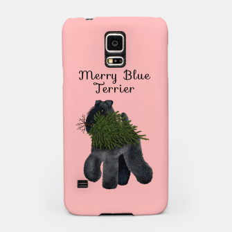 Merry Blue Terrier (Pink Background) Samsung Case miniature