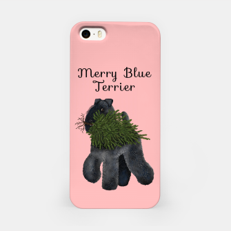 Merry Blue Terrier (Pink Background) iPhone Case miniature