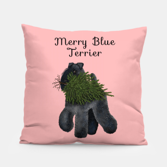 Merry Blue Terrier (Pink Background) Pillow thumbnail image