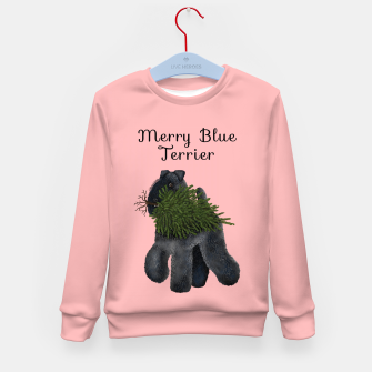 Merry Blue Terrier (Pink Background) Kid's sweater miniature