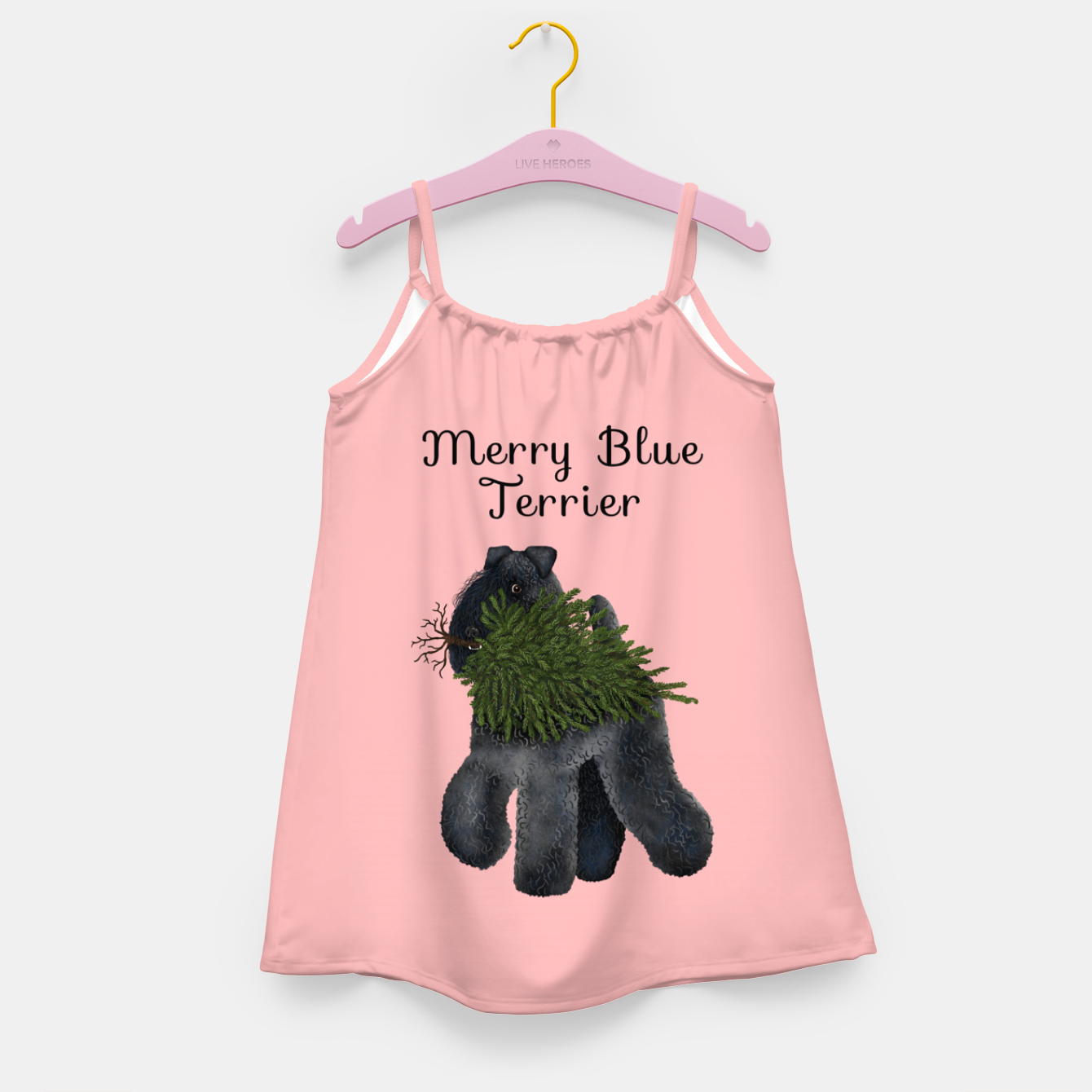 Image of Merry Blue Terrier (Pink Background) Girl's dress - Live Heroes