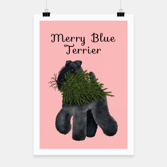 Merry Blue Terrier (Pink Background) Poster miniature