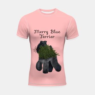 Merry Blue Terrier (Pink Background) Shortsleeve rashguard miniature
