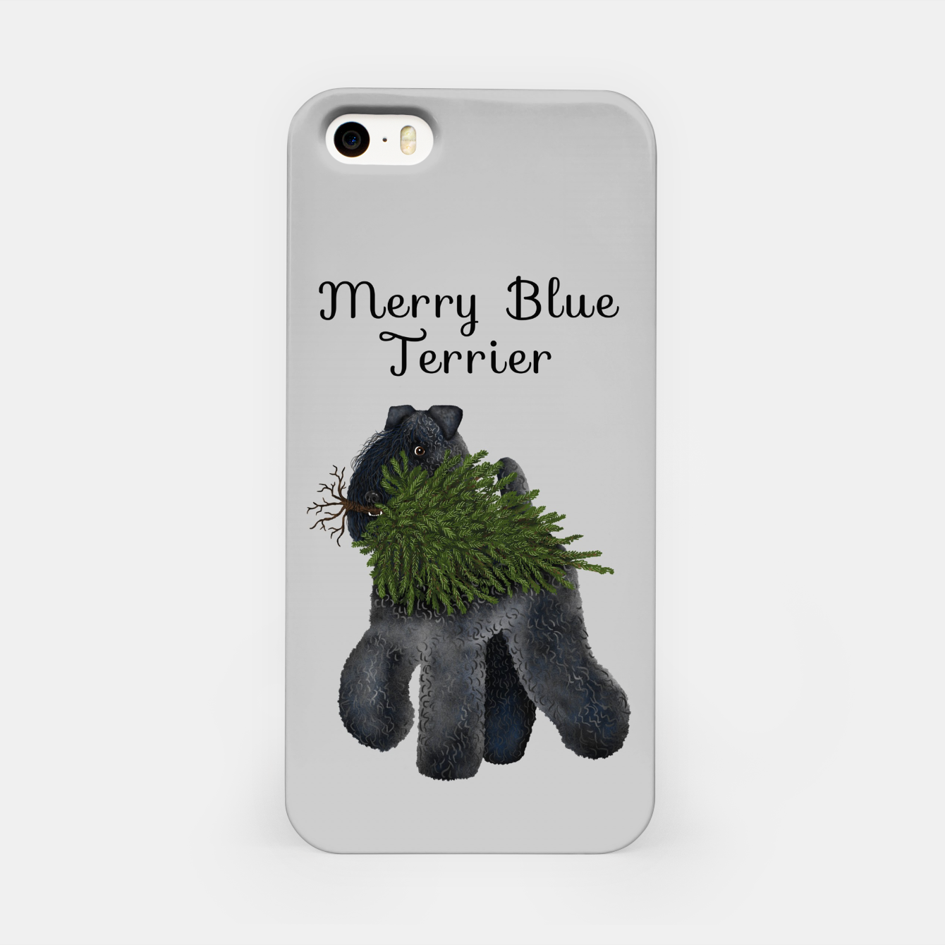 Image of Merry Blue Terrier (Yellow Background) iPhone Case - Live Heroes
