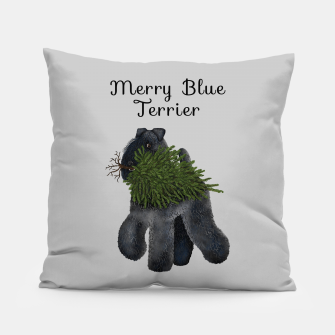 Miniature de image de Merry Blue Terrier (Yellow Background) Pillow, Live Heroes