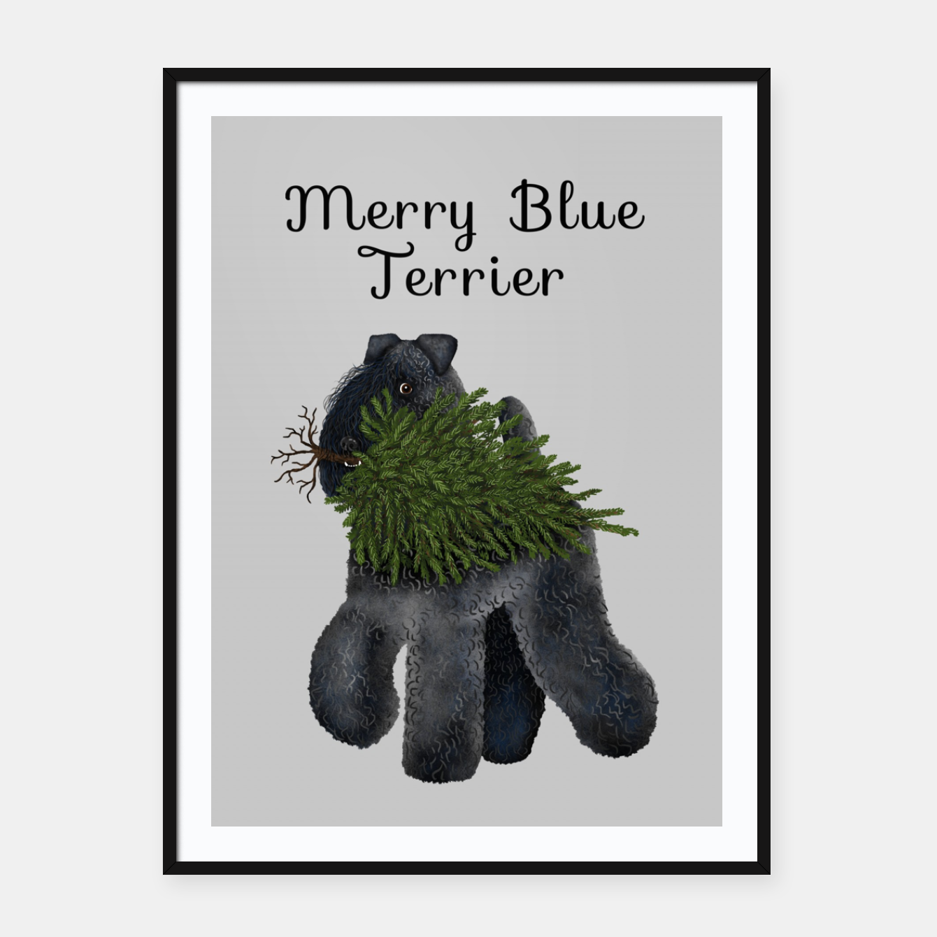 Image of Merry Blue Terrier (Yellow Background) Framed poster - Live Heroes