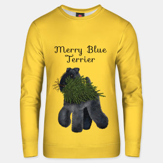 Thumbnail image of Merry Blue Terrier (Yellow Background) Unisex sweater, Live Heroes