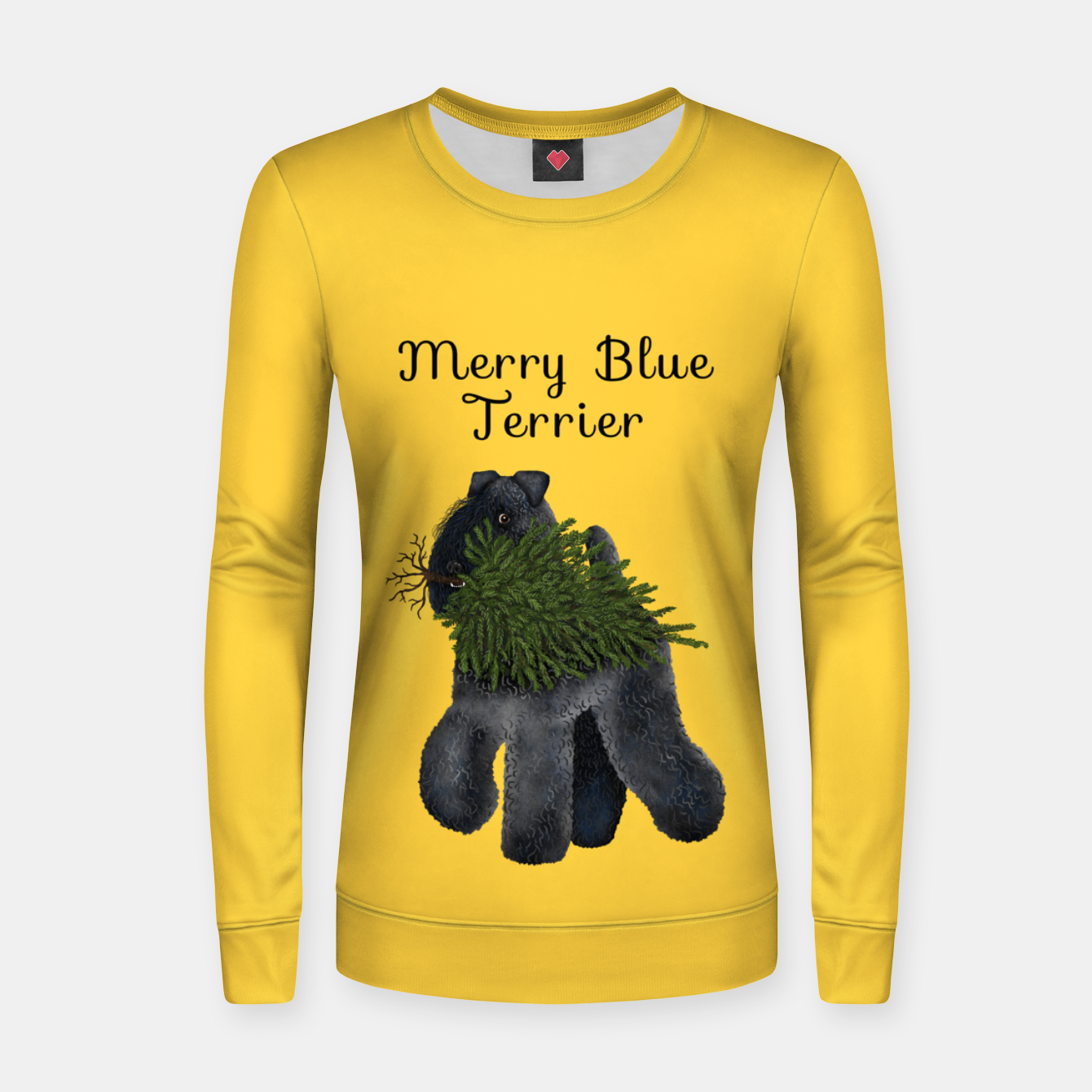 Image of Merry Blue Terrier (Yellow Background) Women sweater - Live Heroes