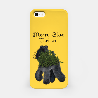 Thumbnail image of Merry Blue Terrier (Yellow Background) iPhone Case, Live Heroes