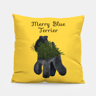 Thumbnail image of Merry Blue Terrier (Yellow Background) Pillow, Live Heroes