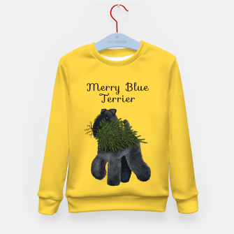Thumbnail image of Merry Blue Terrier (Yellow Background) Kid's sweater, Live Heroes