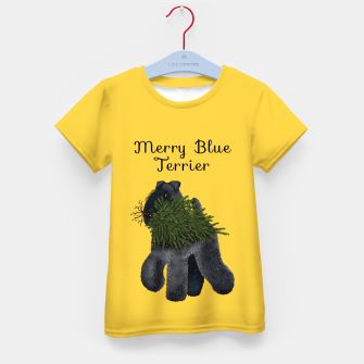 Miniatur Merry Blue Terrier (Yellow Background) Kid's t-shirt, Live Heroes