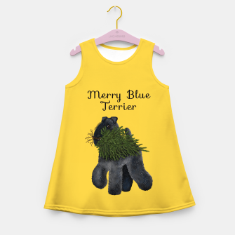 Thumbnail image of Merry Blue Terrier (Yellow Background) Girl's summer dress, Live Heroes