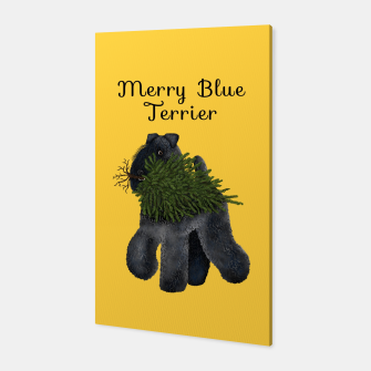 Thumbnail image of Merry Blue Terrier (Yellow Background) Canvas, Live Heroes