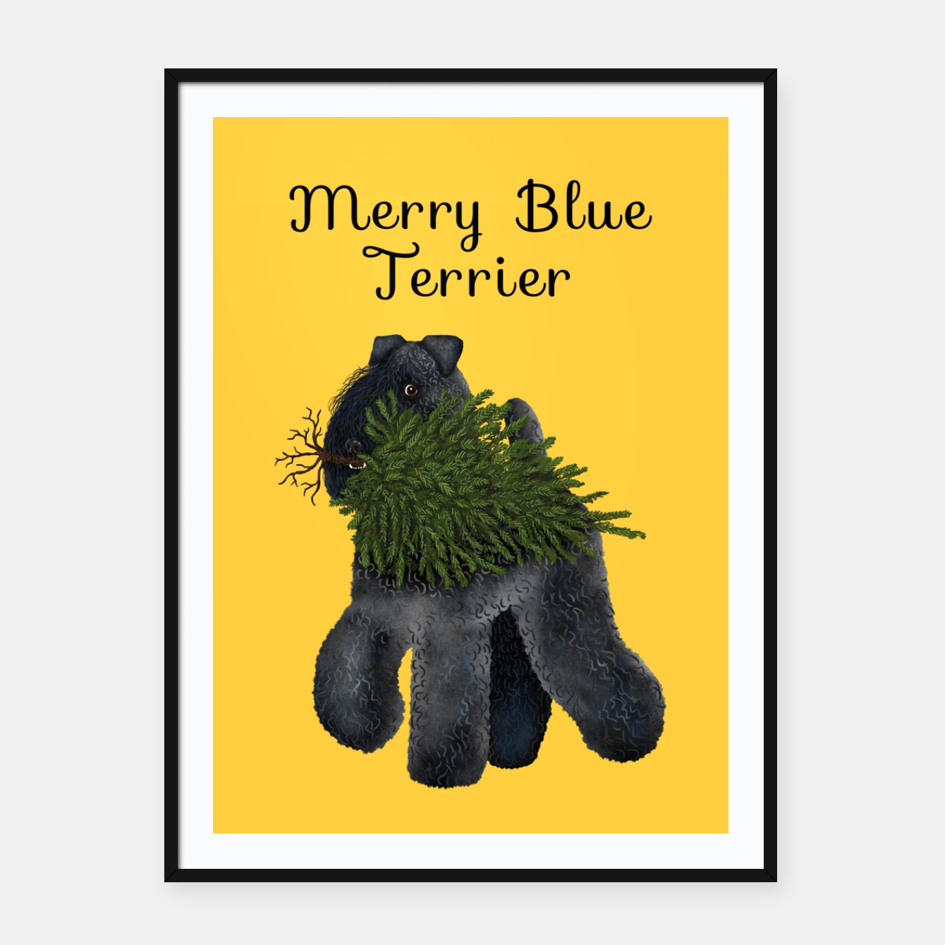 Image de Merry Blue Terrier (Yellow Background) Framed poster - Live Heroes