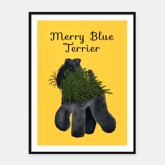 Merry Blue Terrier (Yellow Background) Framed poster miniature