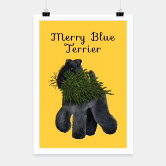 Thumbnail image of Merry Blue Terrier (Yellow Background) Poster, Live Heroes