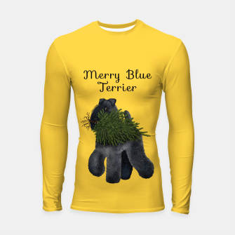Thumbnail image of Merry Blue Terrier (Yellow Background) Longsleeve rashguard , Live Heroes