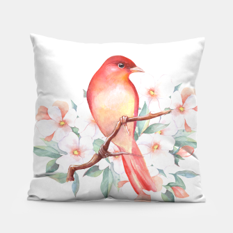 Thumbnail image of Red bird on branch Pillow, Live Heroes