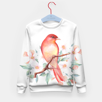Miniatur Red bird on branch Kid's sweater, Live Heroes