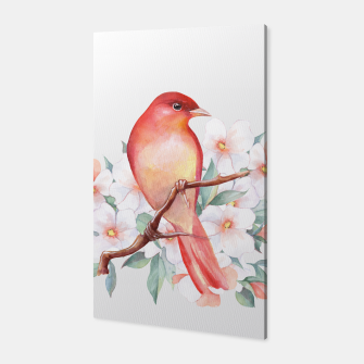 Thumbnail image of Red bird on branch Canvas, Live Heroes