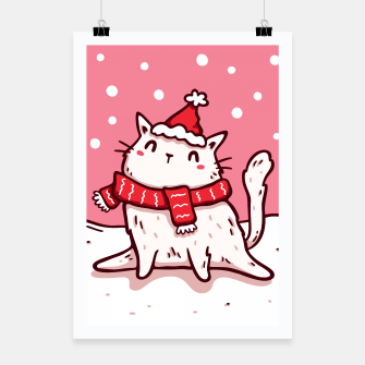 Miniature de image de Cute White Cat in Santa Hat & Scarf, Christmas, Winter, Kawaii Poster, Live Heroes