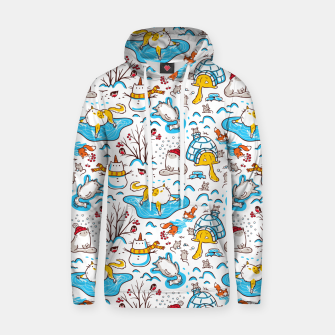 Thumbnail image of Cute Cats, Mice, Squirrels, Bullfinches, Animals Playing in Snow, Winter, Seamless Pattern, Kawaii Hoodie, Live Heroes
