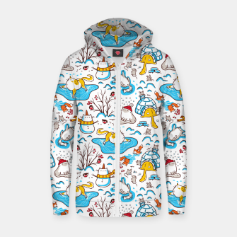 Thumbnail image of Cute Cats, Mice, Squirrels, Bullfinches, Animals Playing in Snow, Winter, Seamless Pattern, Kawaii Zip up hoodie, Live Heroes