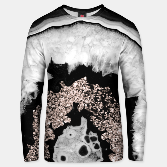 Gray Black White Agate with Rose Gold Glitter #2 #gem #decor #art  Unisex sweatshirt obraz miniatury