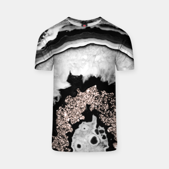 Gray Black White Agate with Rose Gold Glitter #2 #gem #decor #art  T-Shirt obraz miniatury