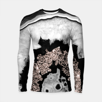 Gray Black White Agate with Rose Gold Glitter #2 #gem #decor #art  Longsleeve rashguard obraz miniatury