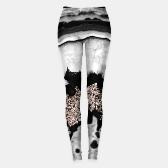Gray Black White Agate with Rose Gold Glitter #2 #gem #decor #art  Leggings obraz miniatury