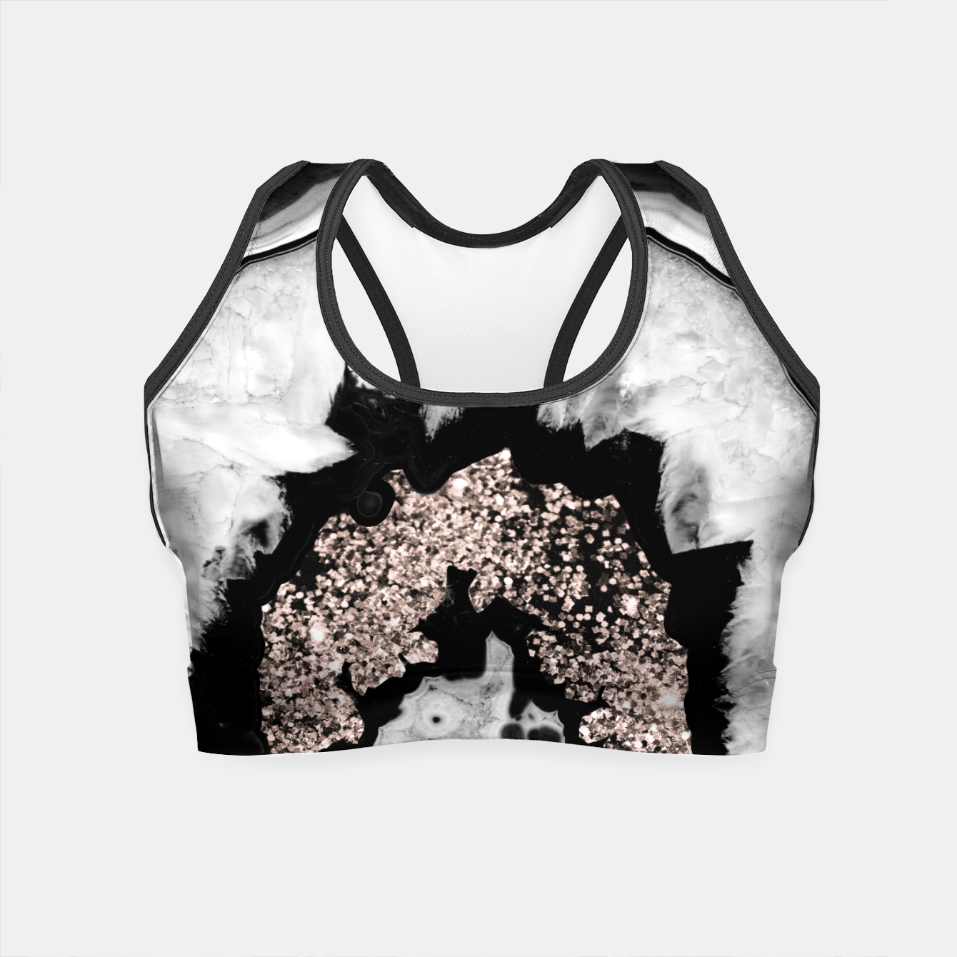 Zdjęcie Gray Black White Agate with Rose Gold Glitter #2 #gem #decor #art  Crop Top - Live Heroes