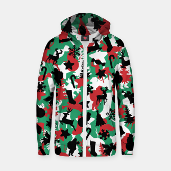 Thumbnail image of Christmas Camo WINTER WOODLAND Zip up hoodie, Live Heroes