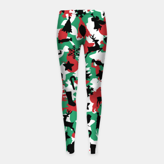 Thumbnail image of Christmas Camo WINTER WOODLAND Girl's leggings, Live Heroes